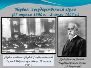 Председатель Первой Государственной Думы С.А.Муромцев Первая Государственная