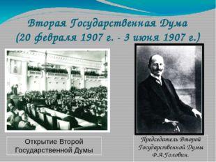 Председатель Второй Государственной Думы Ф.А.Головин. Вторая Государственная