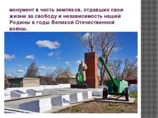монумент в честь земляков, отдавших свои жизни за свободу и независимость наш