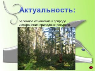 Бережное отношение к природе и сохранение природных ресурсов.