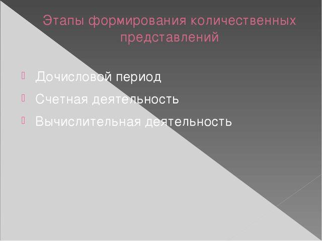 Этапы формирования количественных представлений Дочисловой период Счетная дея...