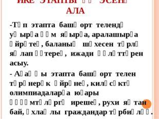 ИКЕ ЭТАПТЫ ҮҘ ЭСЕНӘ АЛА -Төп этапта башҡорт телендә уҡырға һәм яҙырға, аралаш