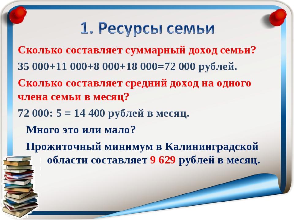 Сколько составляет суммарный доход семьи? 35000+11000+8000+18000=72000 р...