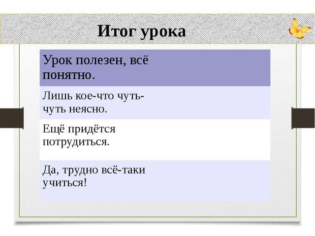 Итог урока Урок полезен, всё понятно. Лишь кое-что чуть-чуть неясно. Ещё при...