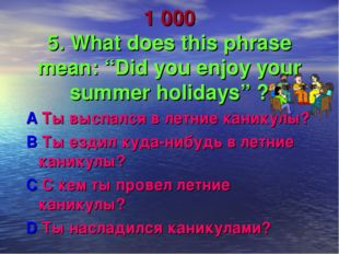 """1 000 5. What does this phrase mean: """"Did you enjoy your summer holidays"""" ? A"""