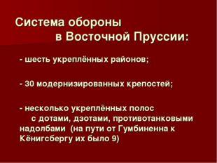 Система обороны в Восточной Пруссии: - шесть укреплённых районов; - 30 моде