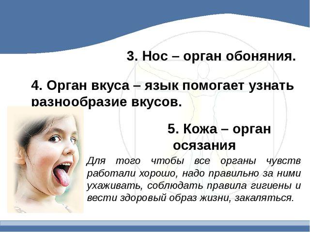 3. Нос – орган обоняния. 4. Орган вкуса – язык помогает узнать разнообразие в...
