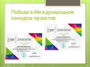 Победа в Международном конкурсе проектов