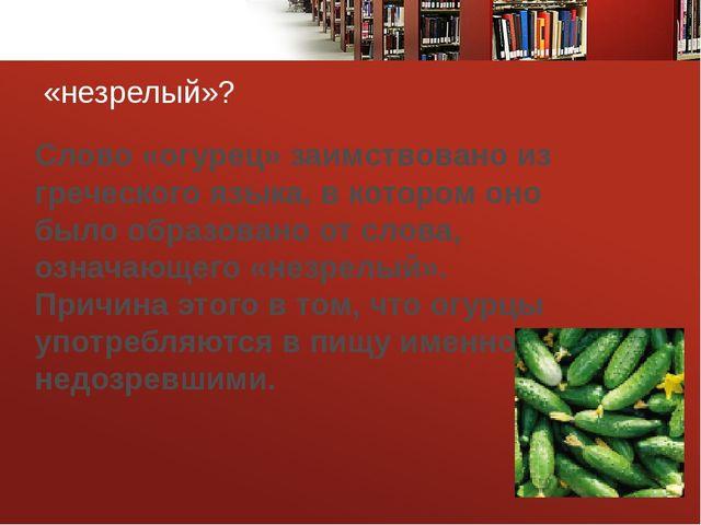 «незрелый»? Слово «огурец» заимствовано из греческого языка, в котором оно б...