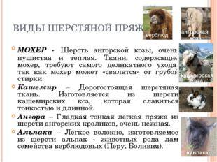 ВИДЫ ШЕРСТЯНОЙ ПРЯЖИ МОХЕР - Шерсть ангорской козы, очень пушистая и теплая.