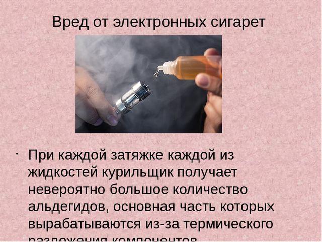 Вред от электронных сигарет При каждой затяжке каждой из жидкостей курильщик...