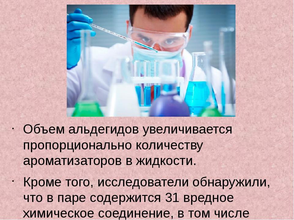 Объем альдегидов увеличивается пропорционально количеству ароматизаторов в жи...