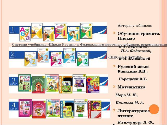 Система учебников «Школа России» в Федеральном перечне учебников, рекомендо...