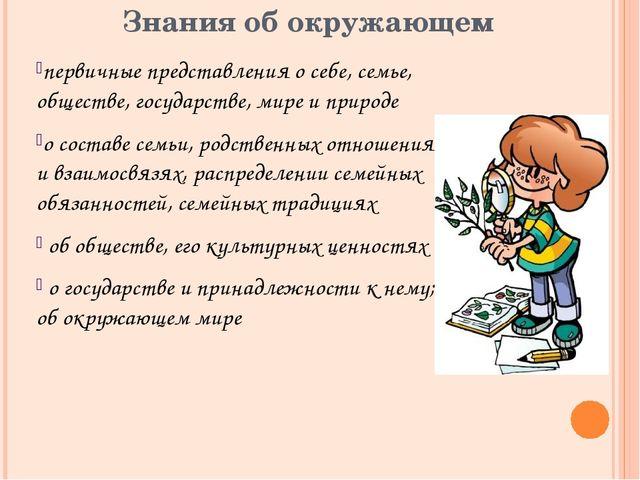 Знания об окружающем первичные представления о себе, семье, обществе, государ...