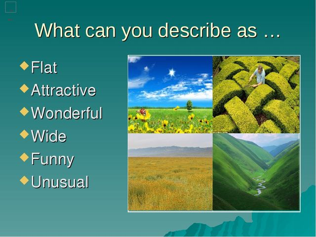What can you describe as … Flat Attractive Wonderful Wide Funny Unusual