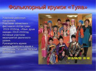 Фольклорный кружок «Туяа» Участники районных праздников, Участники областного