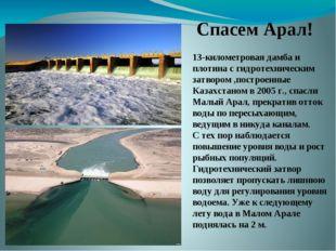 13-километровая дамба и плотина с гидротехническим затвором ,построенные Каза