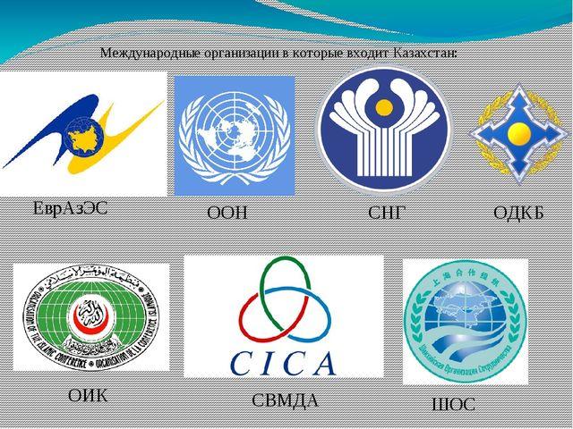 ШОС Международные организации в которые входит Казахстан: ОИК ООН ОДКБ СНГ Ев...