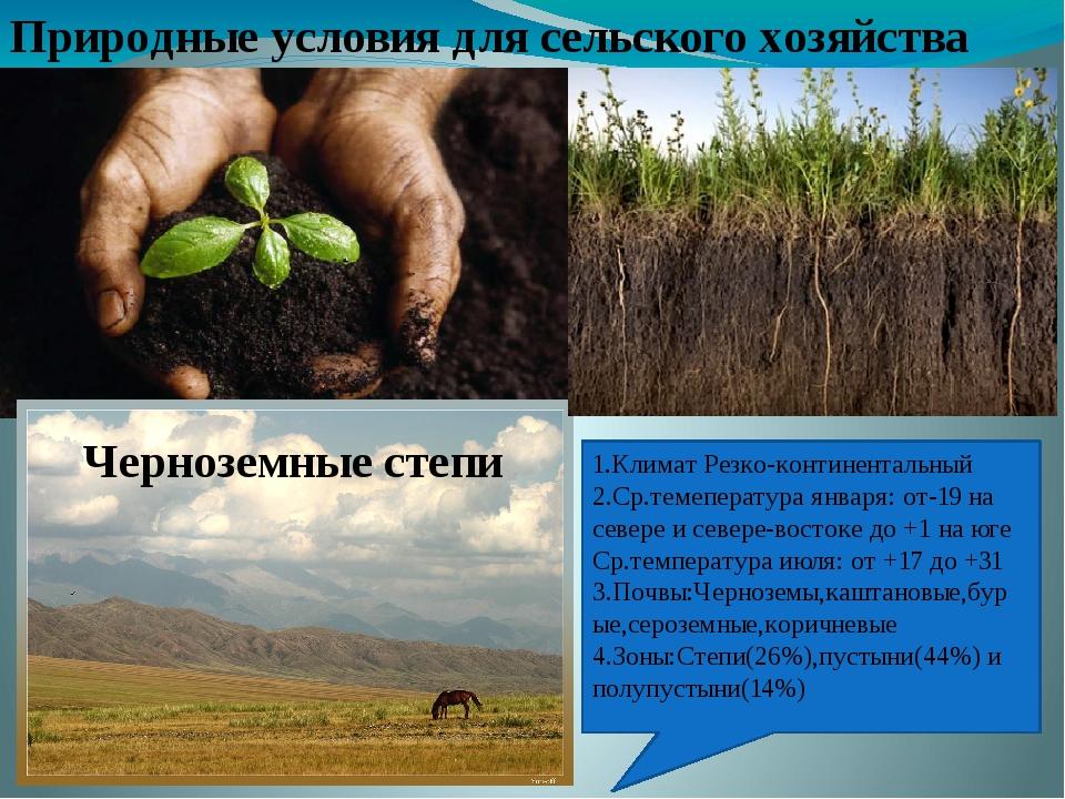 Природные условия для сельского хозяйства 1.Климат Резко-континентальный 2.Ср...