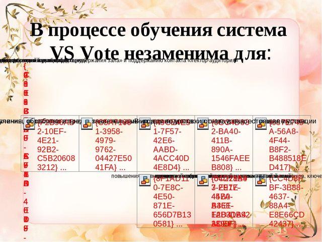 В процессе обучения система VS Vote незаменима для: