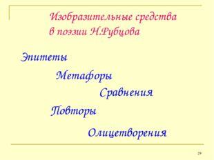 * Изобразительные средства в поэзии Н.Рубцова Эпитеты Метафоры Сравнения Повт