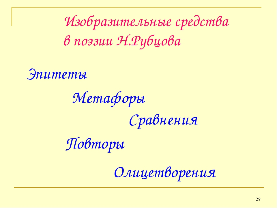* Изобразительные средства в поэзии Н.Рубцова Эпитеты Метафоры Сравнения Повт...