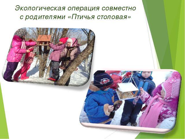 * Экологическая операция совместно с родителями «Птичья столовая»