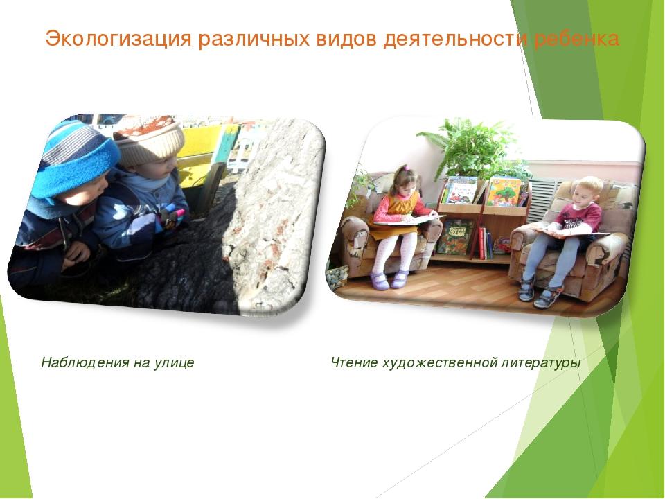 Экологизация различных видов деятельности ребенка Наблюдения на улице Чтение...