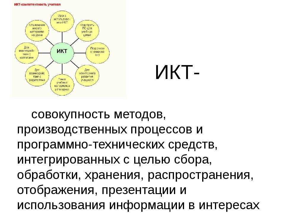 ИКТ- совокупность методов, производственных процессов и программно-технически...