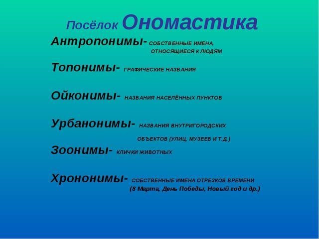 Посёлок Ономастика Антропонимы- СОБСТВЕННЫЕ ИМЕНА, ОТНОСЯЩИЕСЯ К ЛЮДЯМ Топони...