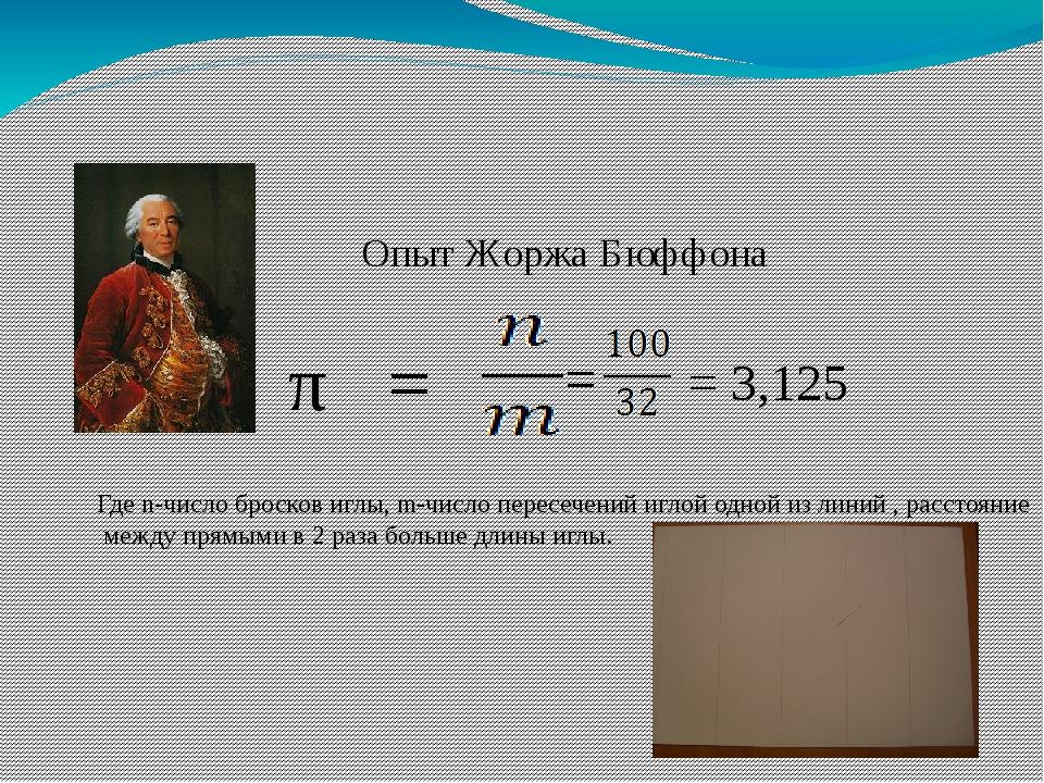 Опыт Жоржа Бюффона π = Где n-число бросков иглы, m-число пересечений иглой од...