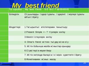 My best friend Тақырыбы: My best friend U-2 St-2 P 58-59-60-61 Білімділі