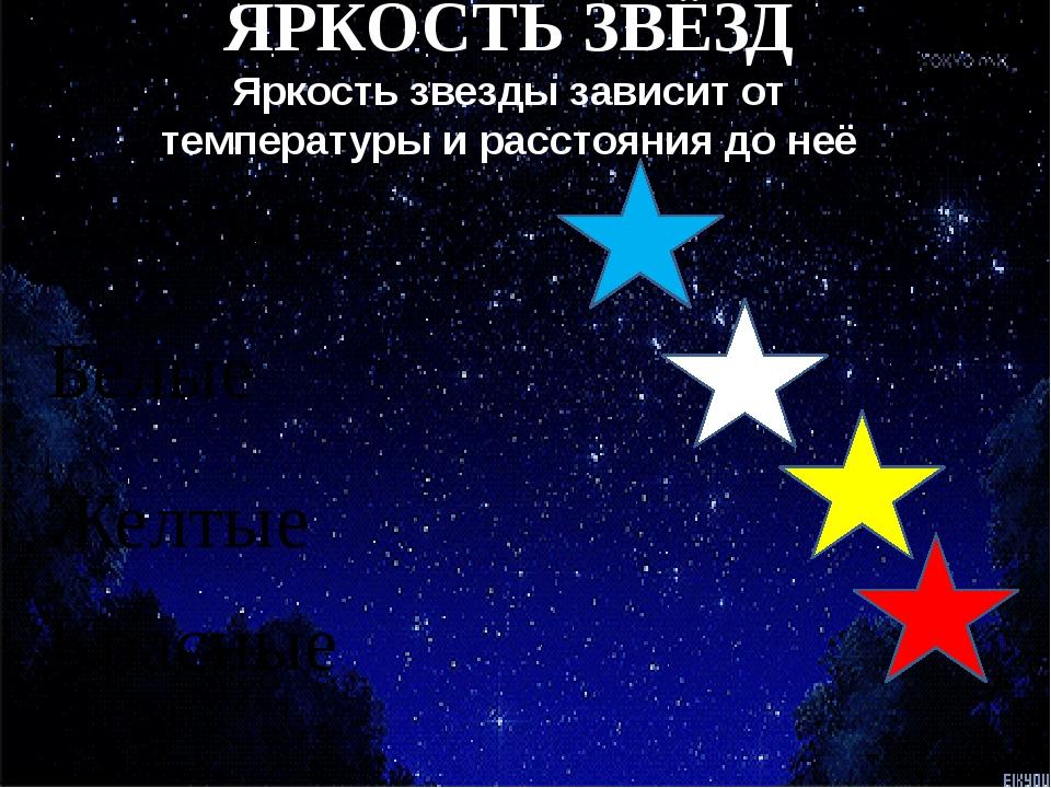Голубые Белые Желтые Красные ЯРКОСТЬ ЗВЁЗД Яркость звезды зависит от темпера...