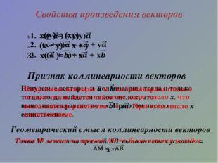 Свойства произведения векторов Признак коллинеарности векторов Геометрический