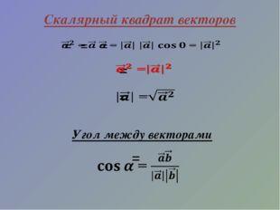 Скалярный квадрат векторов Угол между векторами