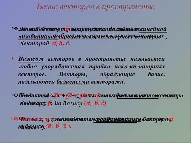 Базис векторов в пространстве Базисом векторов в пространстве называется люба...