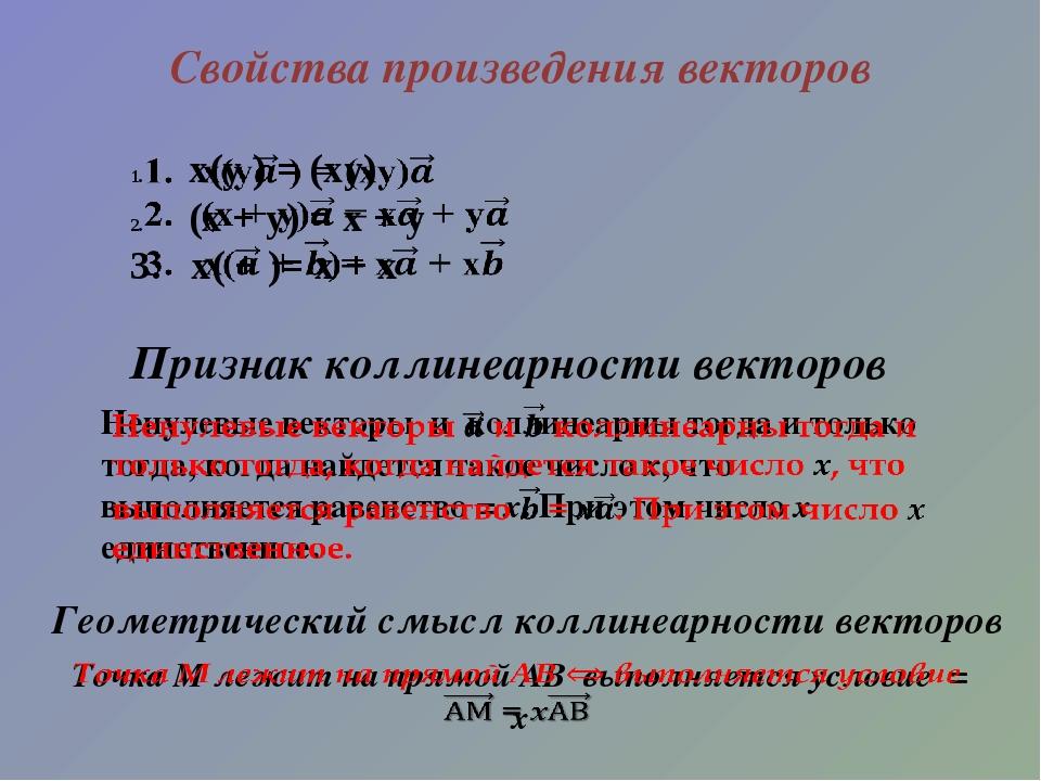 Свойства произведения векторов Признак коллинеарности векторов Геометрический...