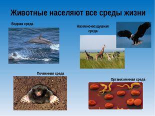 Животные населяют все среды жизни Наземно-воздушная среда Водная среда Почвен
