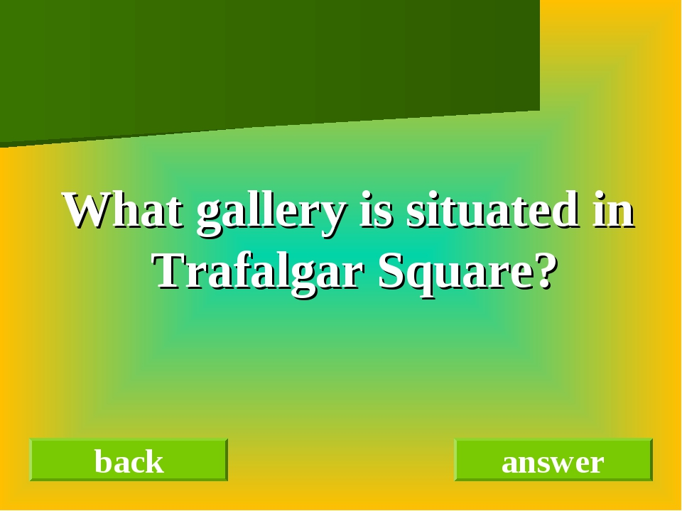 What gallery is situated in Trafalgar Square? back answer