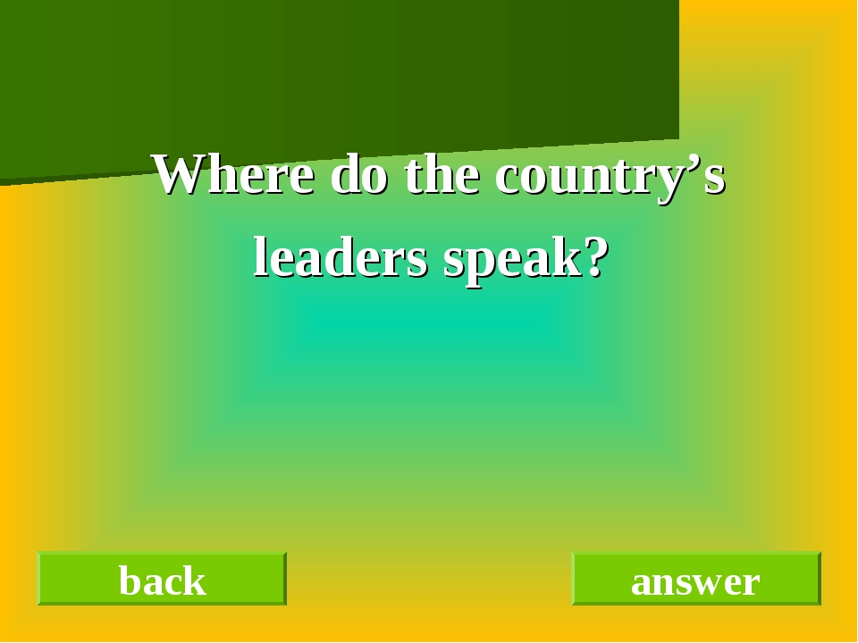 Where do the country's leaders speak? back answer