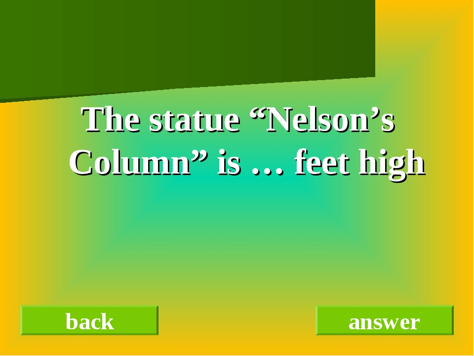 "The statue ""Nelson's Column"" is … feet high back answer"