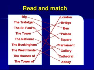 Read and match Big The Trafalgar The St. Paul's The Tower The National The Bu