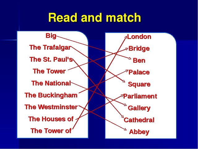 Read and match Big The Trafalgar The St. Paul's The Tower The National The Bu...