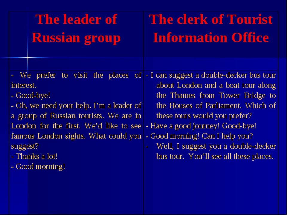 The leader of Russian group 	The clerk of Tourist Information Office - We pre...