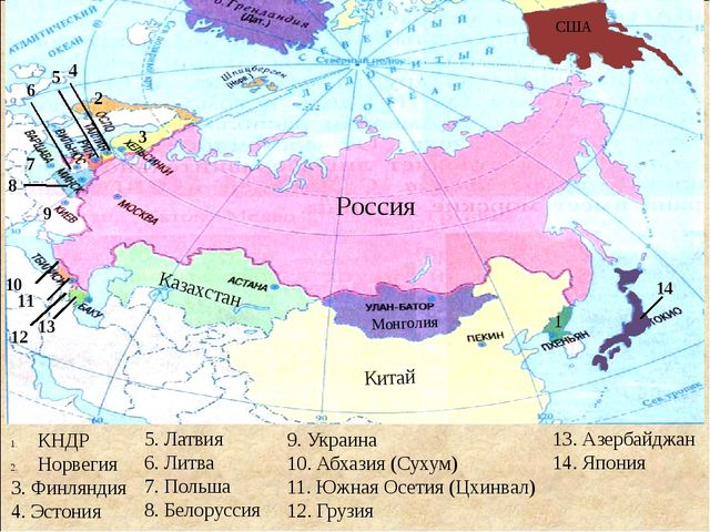 Россия Казахстан Монголия Китай 1 КНДР Норвегия 3. Финляндия 4. Эстония 2 3 4...