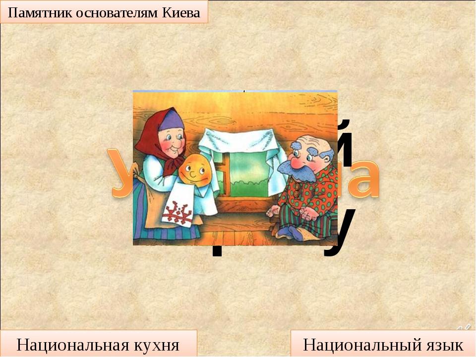 Угадай страну Памятник основателям Киева Национальная кухня Национальный язык