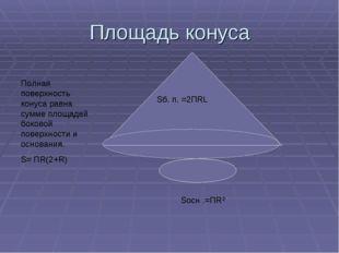 Площадь конуса Sб. п. =2ПRL Полная поверхность конуса равна сумме площадей бо