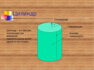Цилиндр Основание Цилиндр – это фигура, полученная при вращении прямоугольник