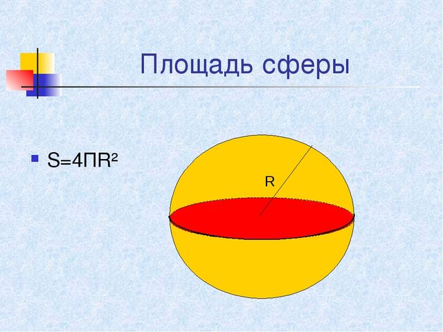 Площадь сферы S=4ПR² R