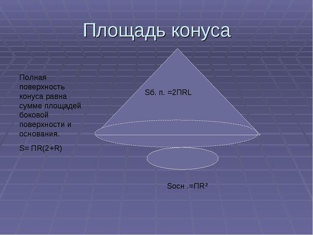 Площадь конуса Sб. п. =2ПRL Полная поверхность конуса равна сумме площадей бо...